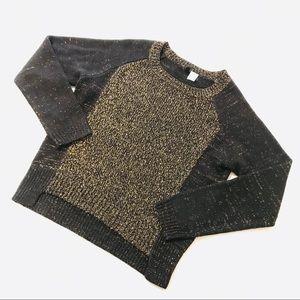H&M Black Gold Metallic Ribbed Hem Sweater Size XS
